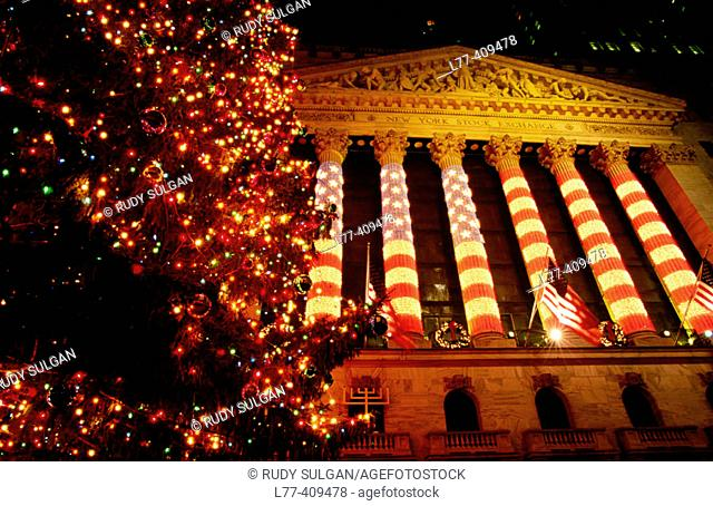 Christmas tree on Wall Street, New York City. USA
