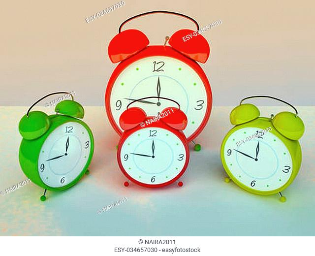 Group of Funny Alarm Clocks in 3D