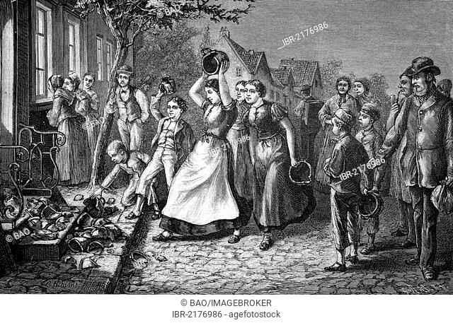 The shattering of crockery on an eve-of-the-wedding party in northern Germany, Germany, historical engraving, 1883