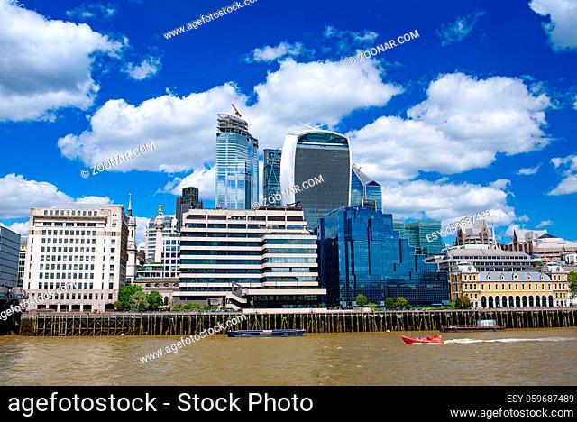 Skyline of City of London CBD in United Kingdom