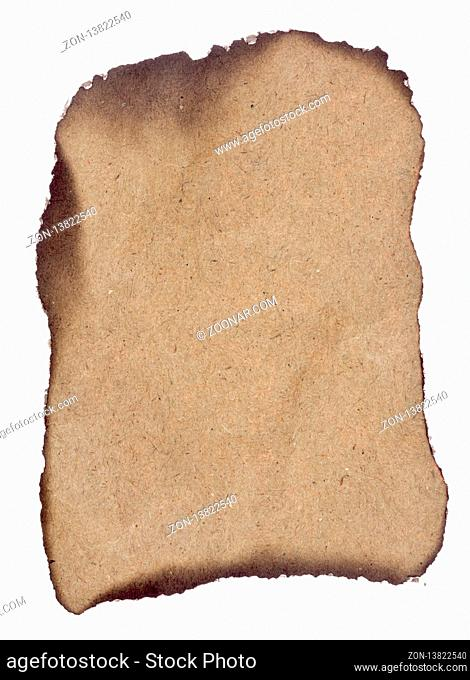 Old paper with burned edges on white background
