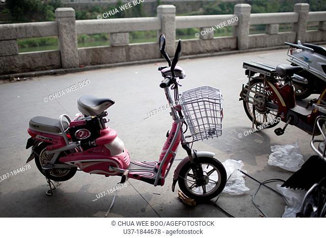 Electric bike for sale. Image taken at Jiexi, China