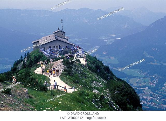 Hitler's fortress. The Eagle's Nest. Now converted to cafe. View over valley