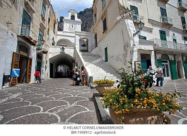 Piazza, square, in Atrani, Church of San Salvatore de Birecto, Amalfi Coast, Unesco World Heritage site, province of Salerno, Gulf of Salerno, Campania region
