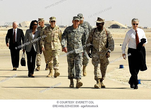 US officials and President Bush arrive at Al Asad Air Base Iraq to meet with members of the Iraqi government and sheiks from Anbar province on Sept