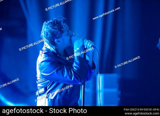 "14 February 2020, Berlin: Julian Casablancas, singer of the US rock band """"The Strokes"""" sings at a concert in the Columbia Hall"