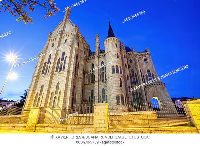 Episcopal Palace designed by Antonio Gaudi in Astorga, Way of St. James, Leon, Spain