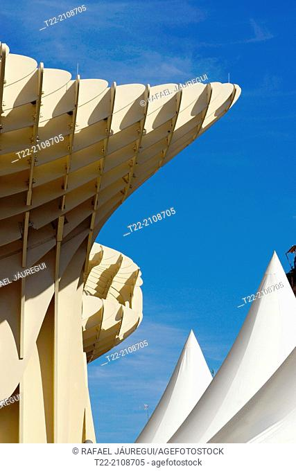 Sevilla (Spain). Architectural detail of the Metropol Parasol in the square of the Encarnacion in Seville