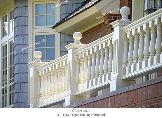 Traditional balustrade around outdoor balcony