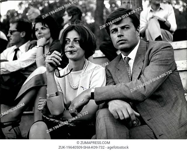 May 9, 1964 - Rome, Anna Maria Ferrero, the Italian actress who married one year ago French actor Jean Sorel seen today with her husband at the Tennis...