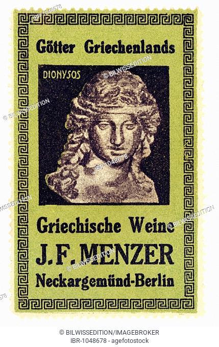 German trading stamp, Goetter Griechenlands, Griechische Weine J. F. Menzer, Neckargemuend-Berlin, Dionysos