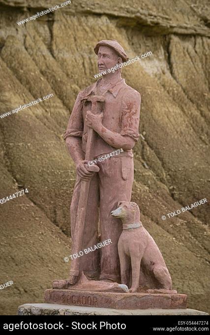 monumento al Segador, Bardenas reales. Reserva de la Biosfera, comunidad foral de Navarra, Spain