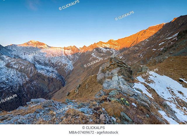 Sunrise on the head of Campiglia Valley, Valle Soana, Gran Paradiso National Park, Piedmont, Italy, Italian alps