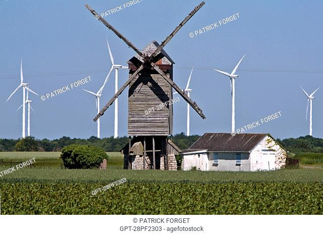 WHEAT FIELDS, WIND TURBINES AND THE BAZOCHE EN DUNOIS WINDMILL, WIND PARK OF THE BEAUCE, EURE-ET-LOIR 28, FRANCE
