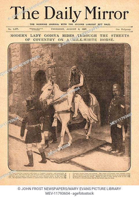 1907 Daily Mirror front page Lady Godiva riding through Coventry