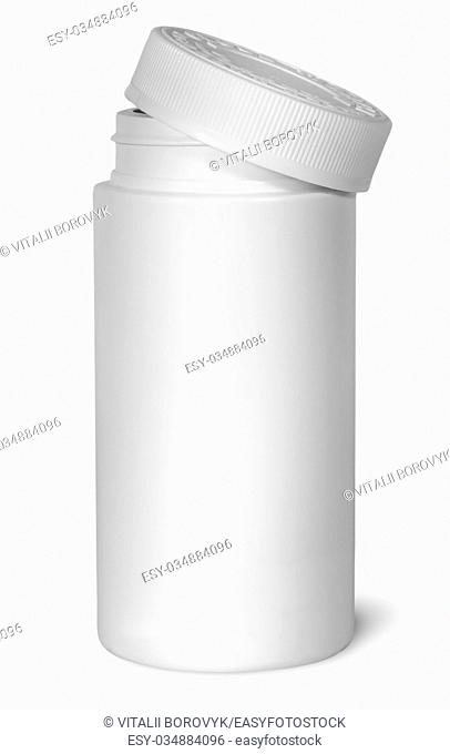 White plastic bottle for vitamins with lid removed isolated on white background