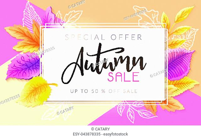 Vector autumn sale banner with hand drawn lettering and leaves