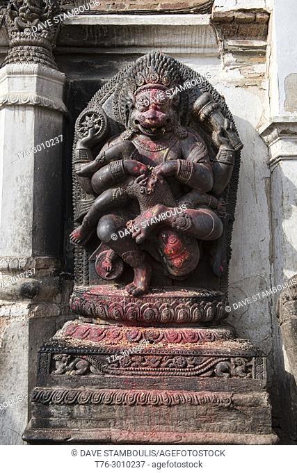 Hindu shrine statue during Dashain holiday, Bhaktapur, Nepal