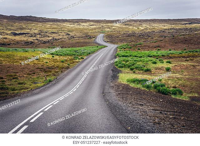 Route in Reykjanes UNESCO Global Geopark area in Reykjanesskagi - Southern Peninsula, Iceland