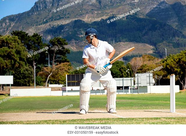 Batsman playing cricket on field against mountain
