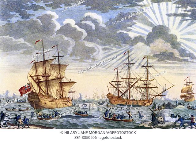 Greenland whale fishery in the 18th century. From British Polar Explorers, published 1943