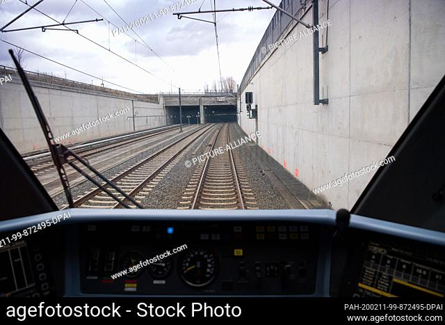 11 February 2020, Berlin: The train waits in front of the tunnel entrance to the station of the future Berlin Brandenburg Airport
