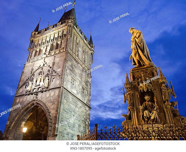 Statue of Charles IV and Old Town Bridge Tower, Charles Bridge, Karluv Most, Prague, Czech Republic, Europe