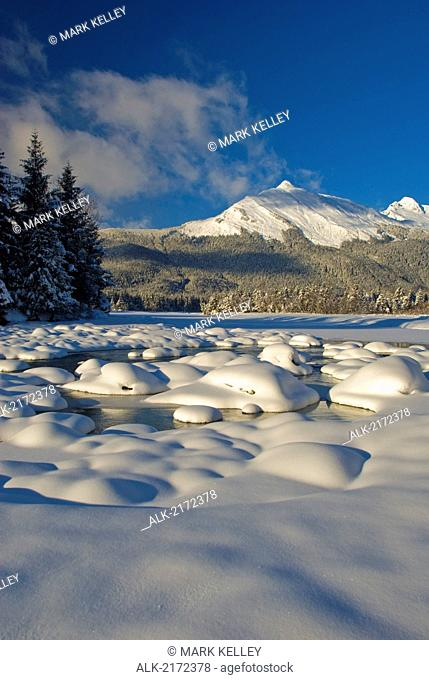 Wintertime Scenic View Of Snowcovered Meadow And Mountains In The Background In The Tongass National Forest In Southeast, Alaska