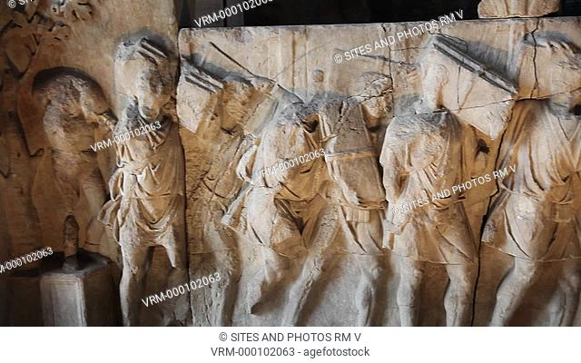PAN. Extreme CU. Bas-relief inside of the Curia Julia, one of the two Plutei of Trajan which represent two important episodes in Trjan's activity in the Forum