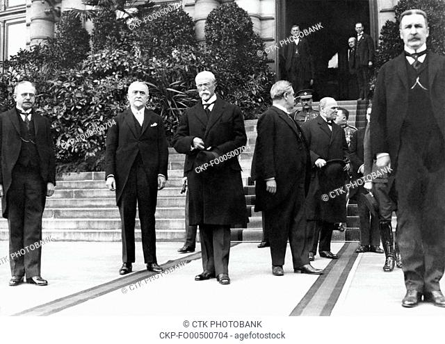 President of Czechoslovakia Tomas Garrigue Masaryk, center, is seen after the Presidential Election in Prague, Czechoslovakia, May 27, 1920