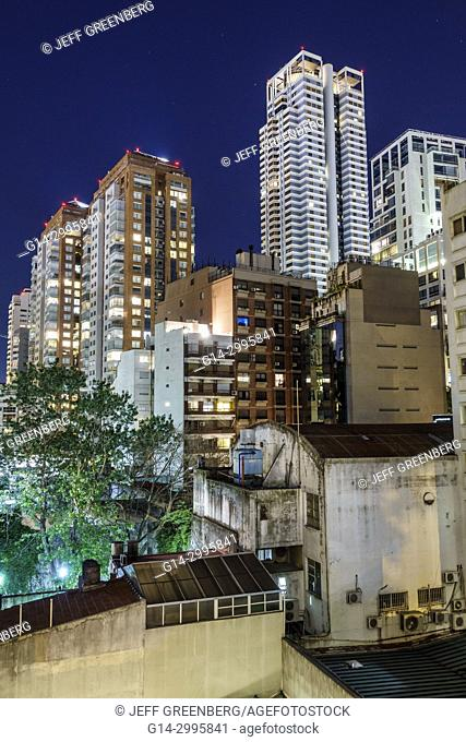 Argentina, Buenos Aires, Palermo, night nightlife, city skyline, buildings, evening, apartments, high-rise, Hispanic, Argentinean Argentinian Argentine