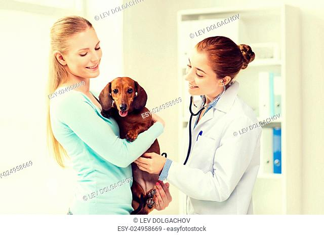 medicine, pet, animal, health care and people concept - happy woman holding dachshund and veterinarian doctor with stethoscope at vet clinic