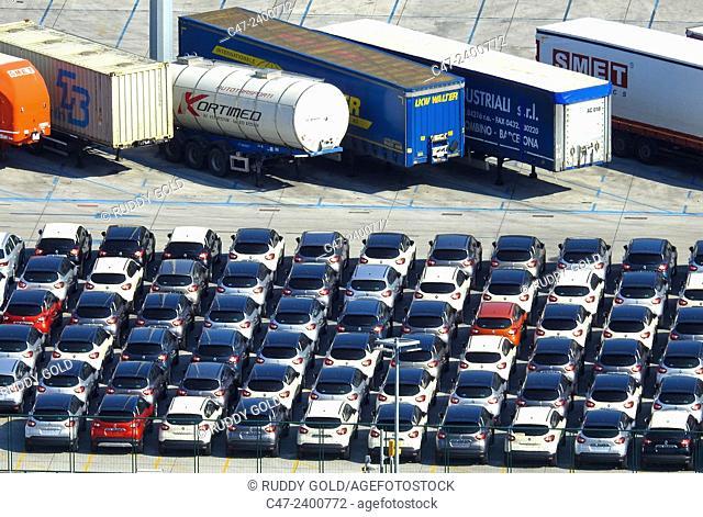 Cars storage at Barcelona port. Barcelona