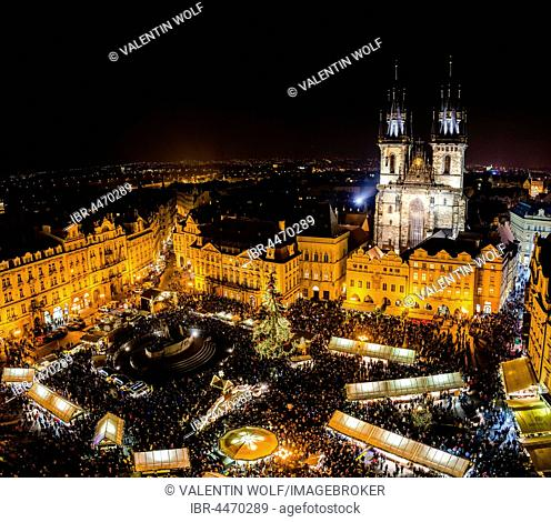Tyn Cathedral, Christmas market, Old Town Square, view from Old Town Hall at night, historic centre, Prague, Czech Republic