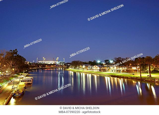 Olympic Stadium and City Park at Yarra River, Cityscape, Melbourne, Victoria