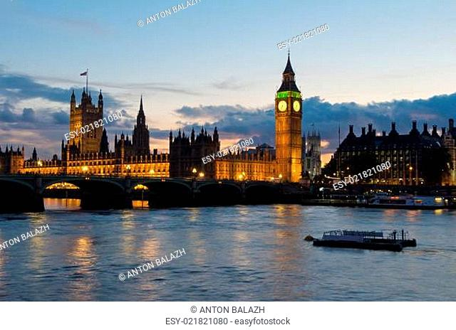 Cityscape of Big Ben and Westminster Bridge with river Thames. London. England UK