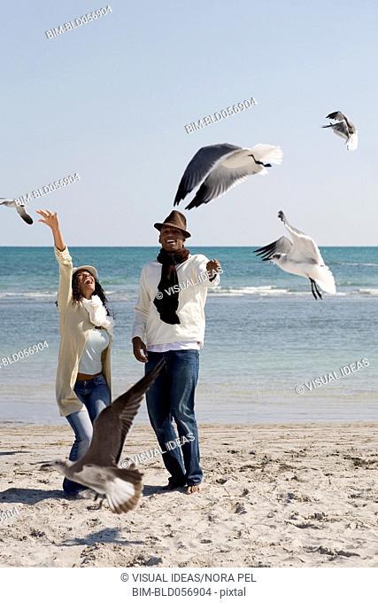 Multi-ethnic couple watching seagulls