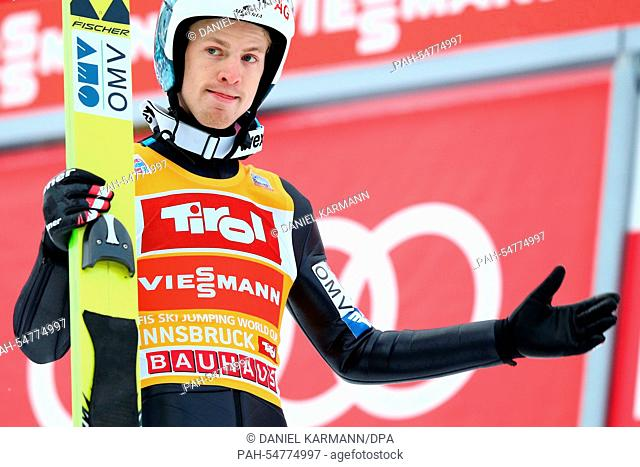 Michael Hayböck of Austria reacts after competing during the third stage of the 63rd Four Hills Tournament ski jumping event in Innsbruck, Austria