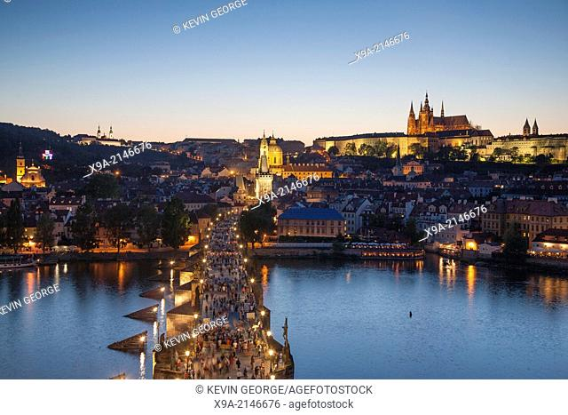 Charles Bridge and Castle illuminated at night, Prague, Czech Republic