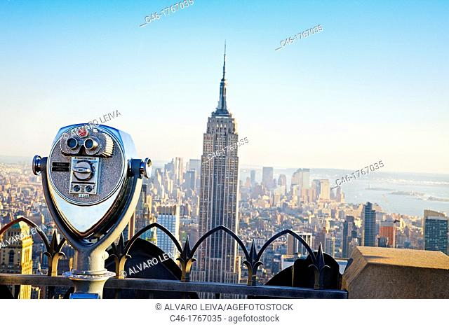 Midtown and the Empire State building, from the top of the Rockefeller Center Building, Manhattan, New York City  USA
