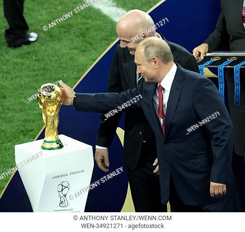 2018 FIFA World Cup Final: France v Croatia Featuring: Gianni Infantino, Vladimir Putin Where: Moscow, Russian Federation When: 15 Jul 2018 Credit: Anthony...