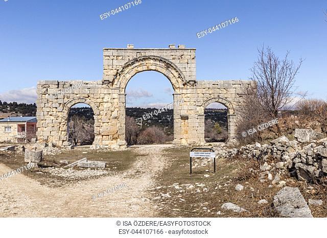 Marble City North Gate columns of Uzuncaburc Ancient city located in Uzuncaburc,Silifke,Mersin,Turkey. 2