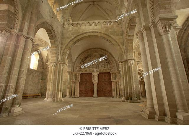 Inside Vezelay abbey, St Mary Magdalene Basilica, Narthex, The Way of St. James, Chemins de Saint Jacques, Roads to Santiago, Via Lemovicensis, Vezelay, Dept
