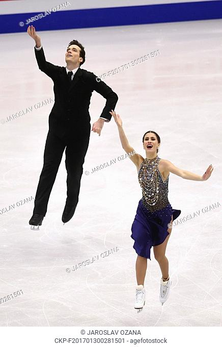 Tina Garabedian and Simon Proulx-Senecal of Armenia compete during the pair's short program of the European Figure Skating Championships in Ostrava