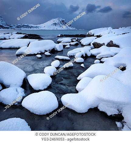 Snow covered Vik beach in winter, Vestvågøy, Lofoten Islands, Norway