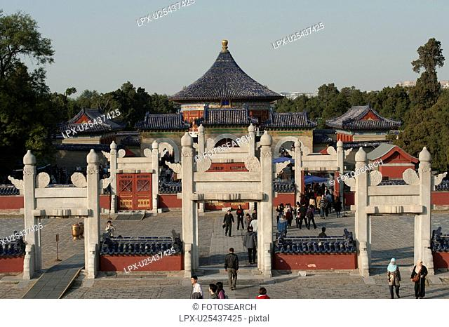Architectural details of the Imperial Vault of Heaven at the Temple Of Heaven, Beijing, China