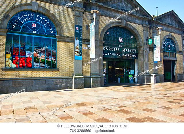 Grade II listed Cardiff Central Market, Castle Quarter, Cardiff, Wales, United Kingdom. The market was designed by William Harpur and opened in 1891