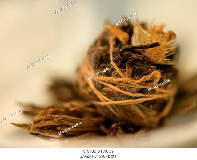 Close-up of pu-erh tea leaves