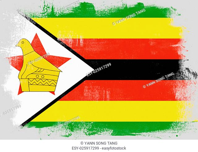 Flag of Zimbabwe painted with brush on solid background
