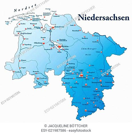 Nordsee Karte Niedersachsen.Map Of Hannover Stock Photos And Images Age Fotostock